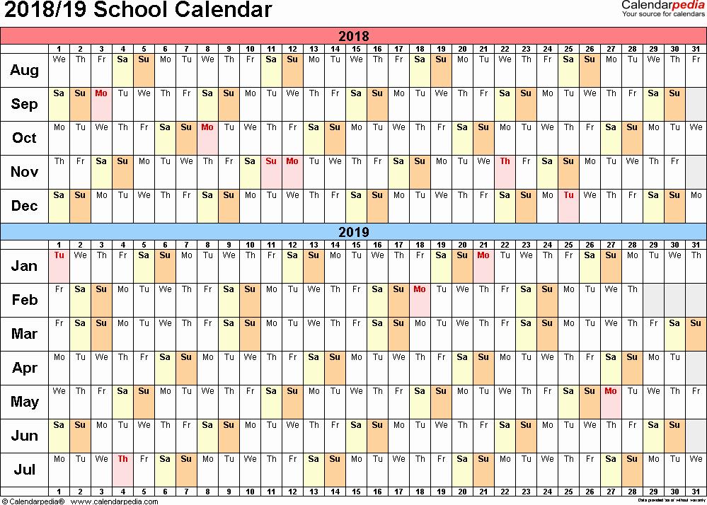 Printable Calendar 2018 and 2019 Unique School Calendars 2018 2019 as Free Printable Word Templates
