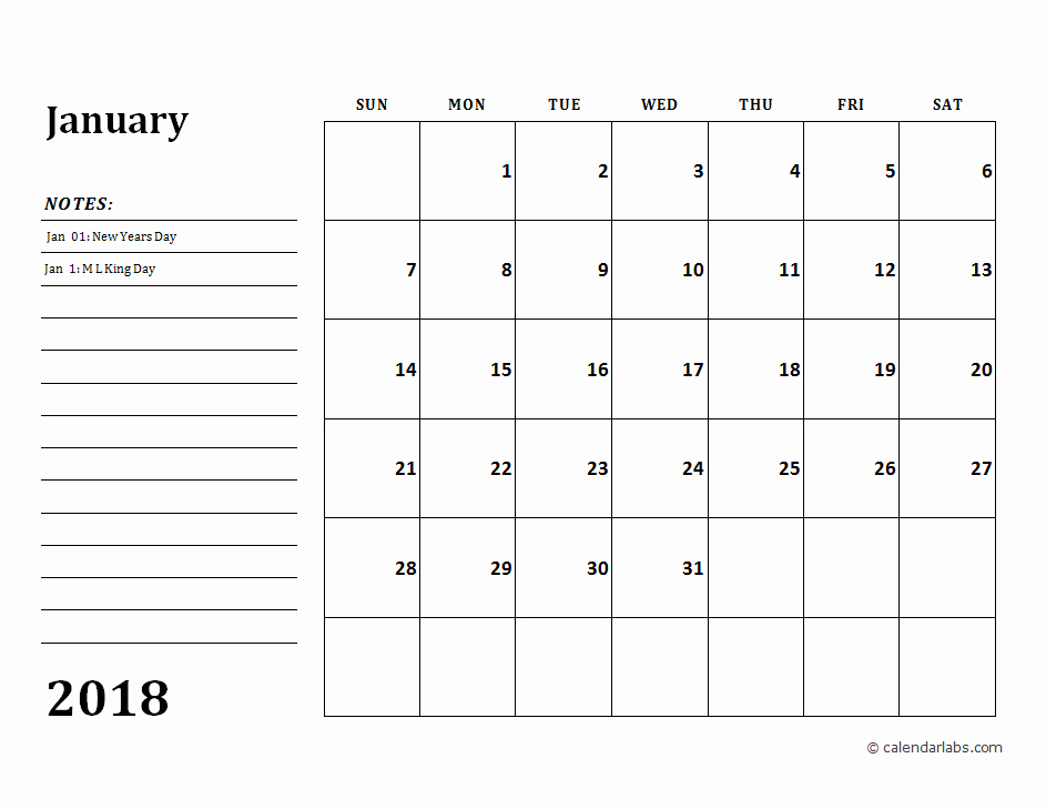Printable Calendar 2018 with Notes Awesome 2018 Calendar Template with Monthly Notes Free Printable