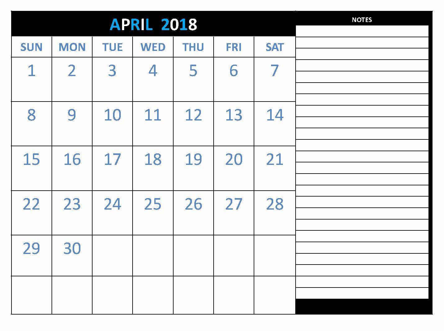 Printable Calendar 2018 with Notes Awesome April 2018 Calendar Printable [free]