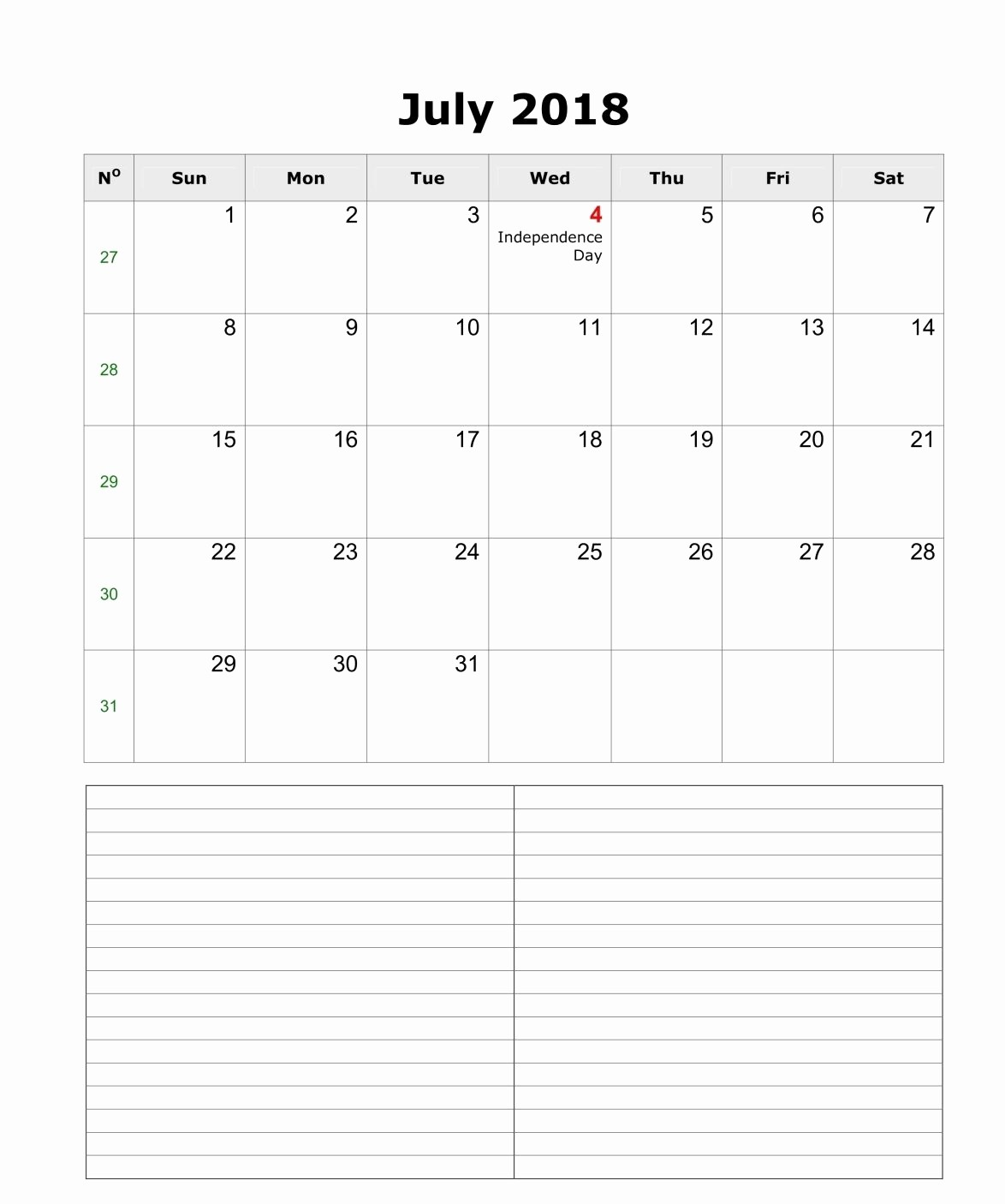 Printable Calendar 2018 with Notes Awesome Printable July 2018 Calendar with Notes