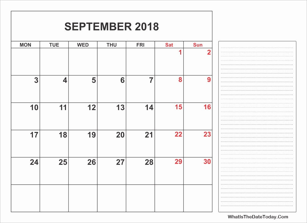 Printable Calendar 2018 with Notes Beautiful 2018 Printable September Calendar with Notes