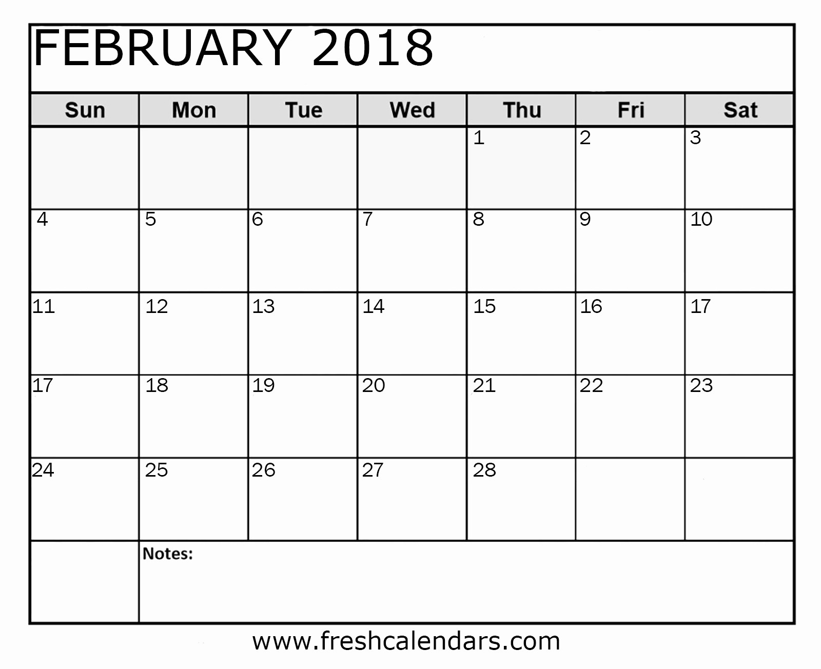 Printable Calendar 2018 with Notes Best Of Blank February 2018 Calendar Printable Templates