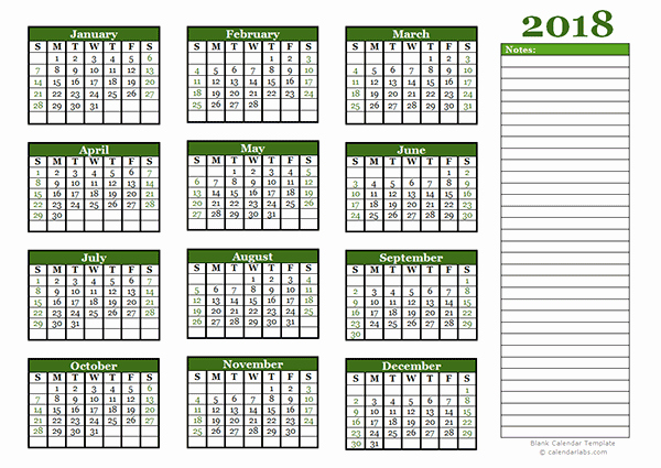 Printable Calendar 2018 with Notes Elegant 2018 Yearly Calendar with Blank Notes Free Printable