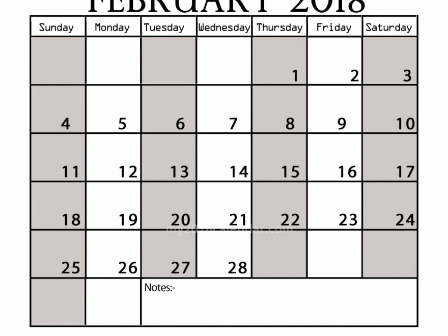 Printable Calendar 2018 with Notes Elegant February 2018 Calendar with Notes Printable