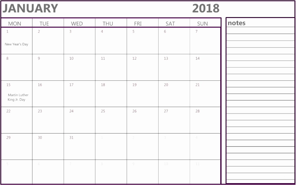 Printable Calendar 2018 with Notes Elegant January 2018 Calendar Notes Printable Fice Templates