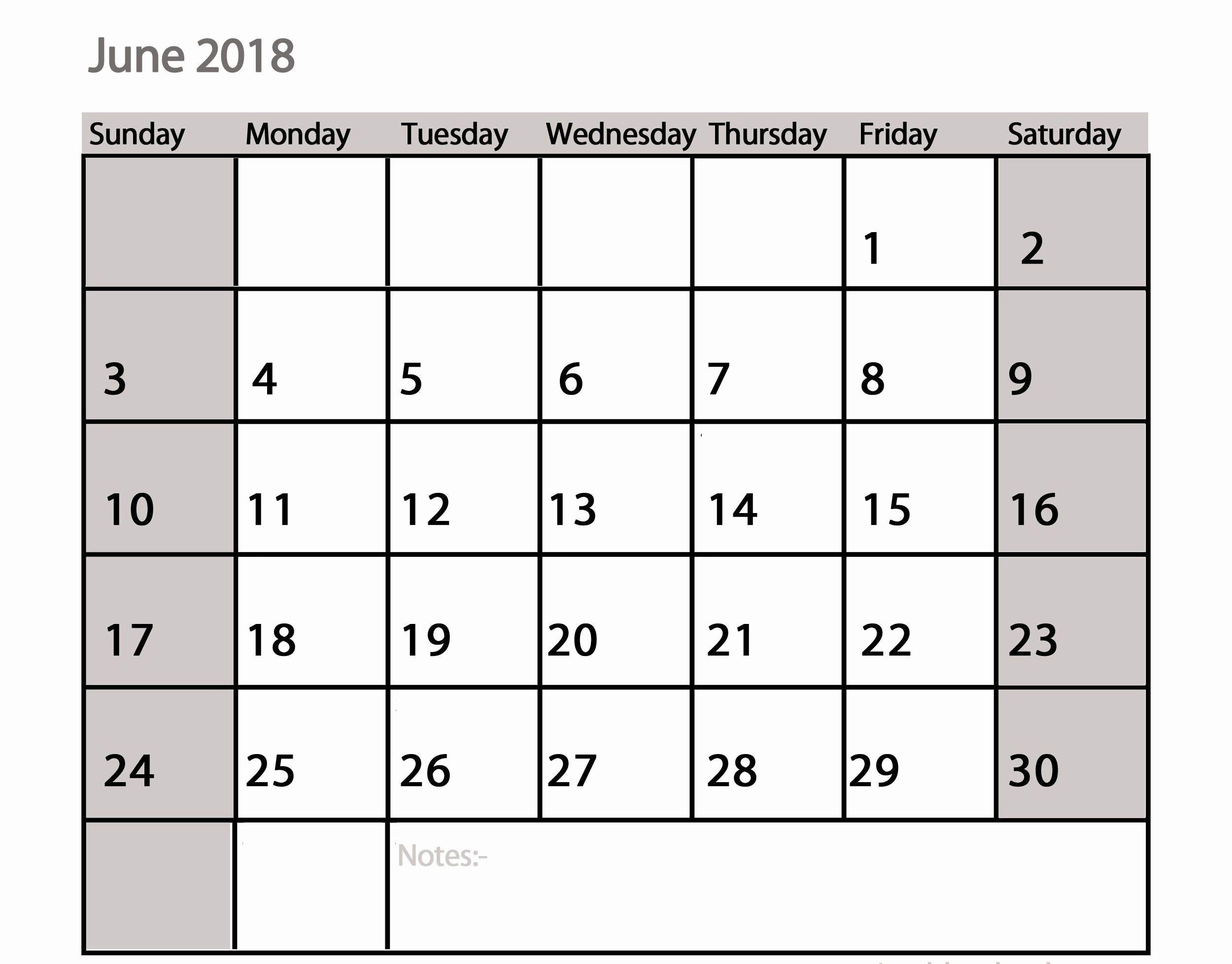 Printable Calendar 2018 with Notes Elegant Printable June 2018 Calendar with Notes
