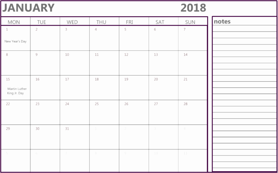 Printable Calendar 2018 with Notes Fresh January 2018 Calendar Notes Printable Fice Templates
