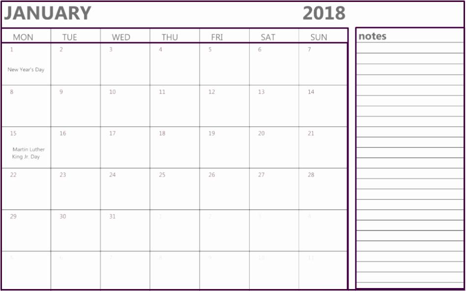 Printable Calendar 2018 with Notes Fresh January 2018 Calendar Notes Printable Fice Templates
