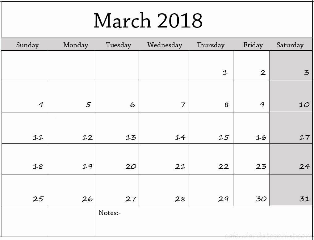 Printable Calendar 2018 with Notes Fresh March 2018 Calendar with Notes Printable Template