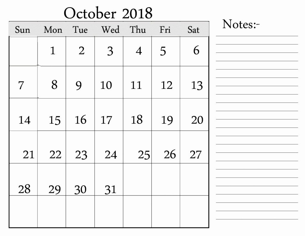 Printable Calendar 2018 with Notes Fresh October 2018 Calendar Word Excel Pdf