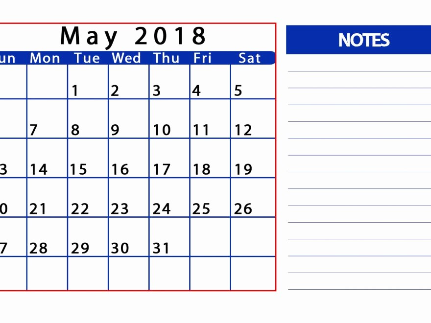 Printable Calendar 2018 with Notes Inspirational May 2018 Calendar with Notes Printable