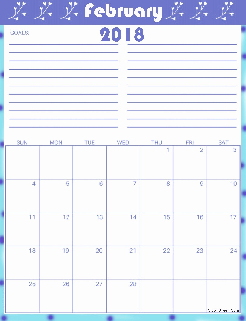 Printable Calendar 2018 with Notes Inspirational Printable February 2018 Calendar with Notes