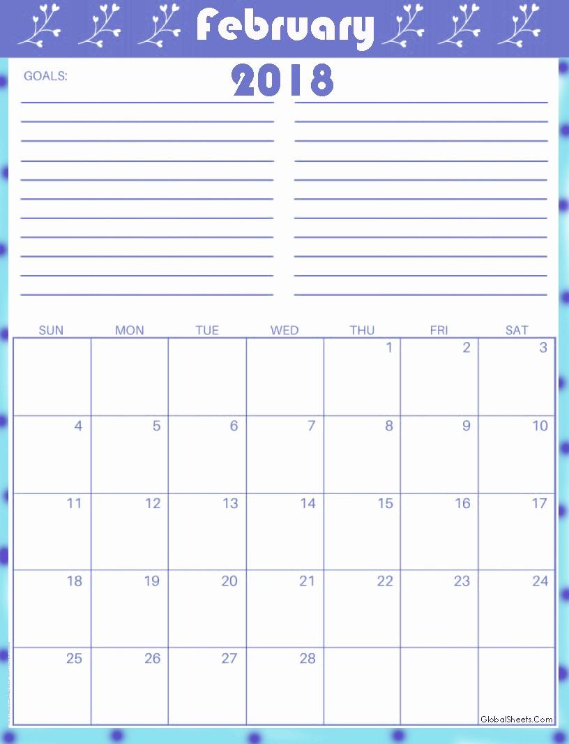 Printable Calendar 2018 with Notes Inspirational Printable February 2018 Calendar with Notes