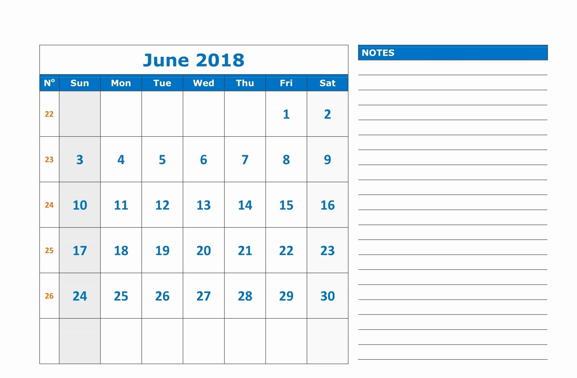 Printable Calendar 2018 with Notes Inspirational Printable June 2018 Calendar with Notes
