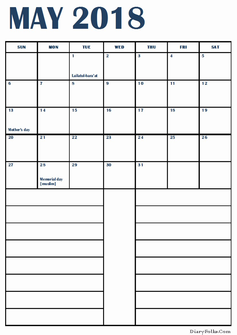 Printable Calendar 2018 with Notes Inspirational Printable May 2018 Calendar with Notes