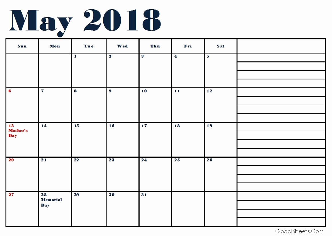 Printable Calendar 2018 with Notes Inspirational Printable May 2018 Calendar with Notes