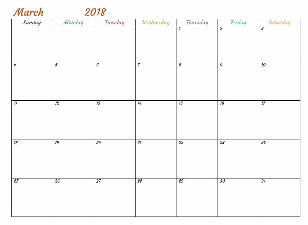 Printable Calendar 2018 with Notes Lovely March 2018 Calendar with Notes Printable Template