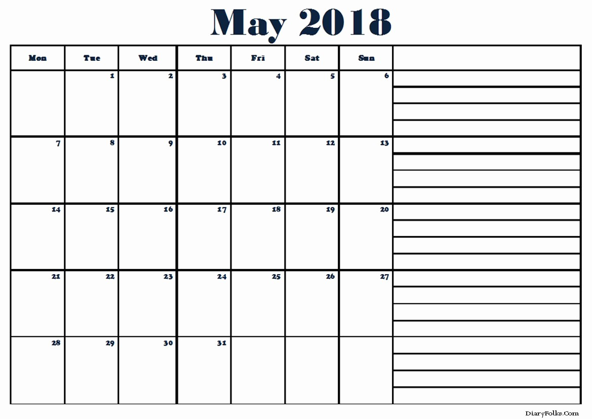 Printable Calendar 2018 with Notes Lovely Printable May 2018 Calendar with Notes