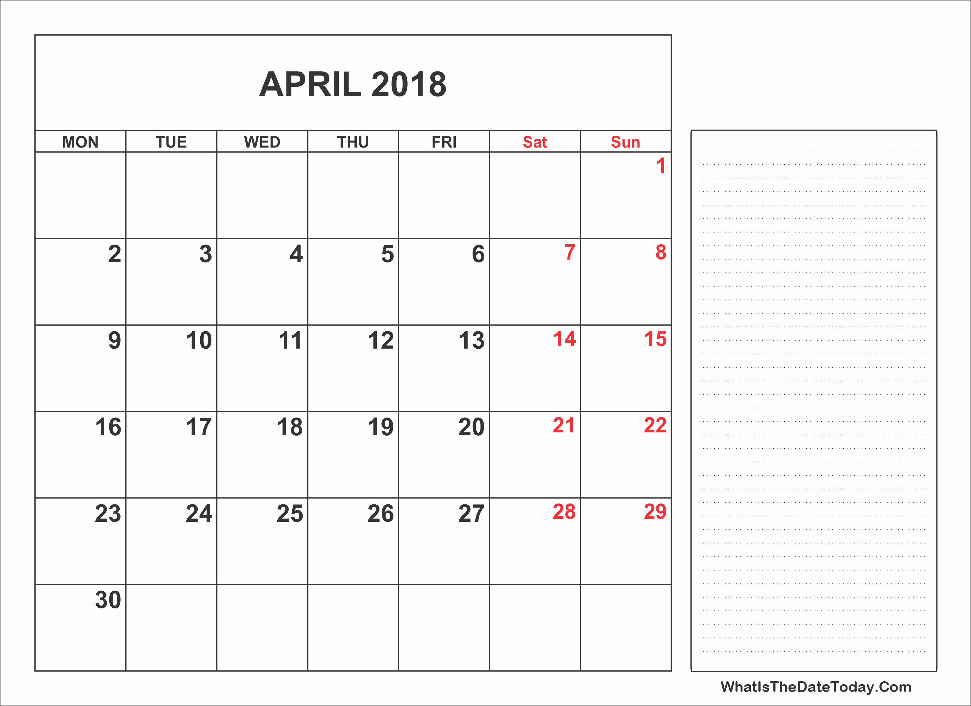 Printable Calendar 2018 with Notes Luxury 2018 Printable April Calendar with Notes