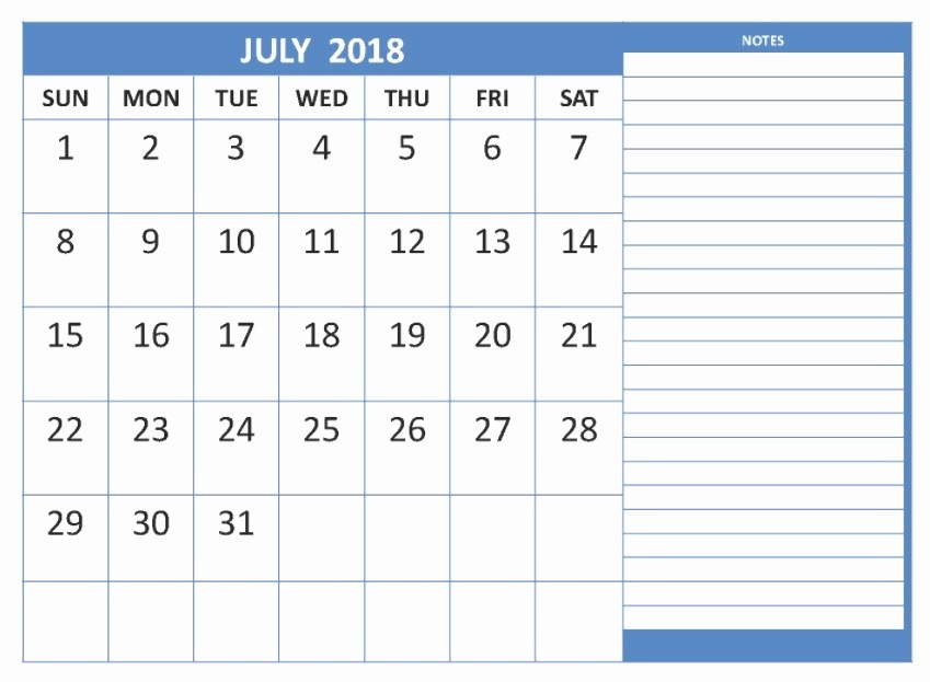Printable Calendar 2018 with Notes Luxury July 2018 Printable Calendar 8 Free Blank Templates