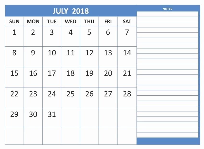 Printable Calendar 2018 with Notes Luxury July 2018 Printable Calendar 8 Free Blank Templates
