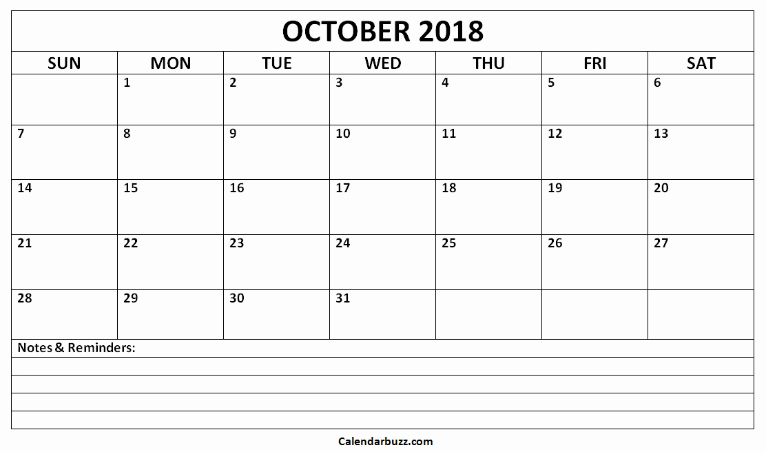 Printable Calendar 2018 with Notes Luxury Printable October 2018 Calendar with Notes