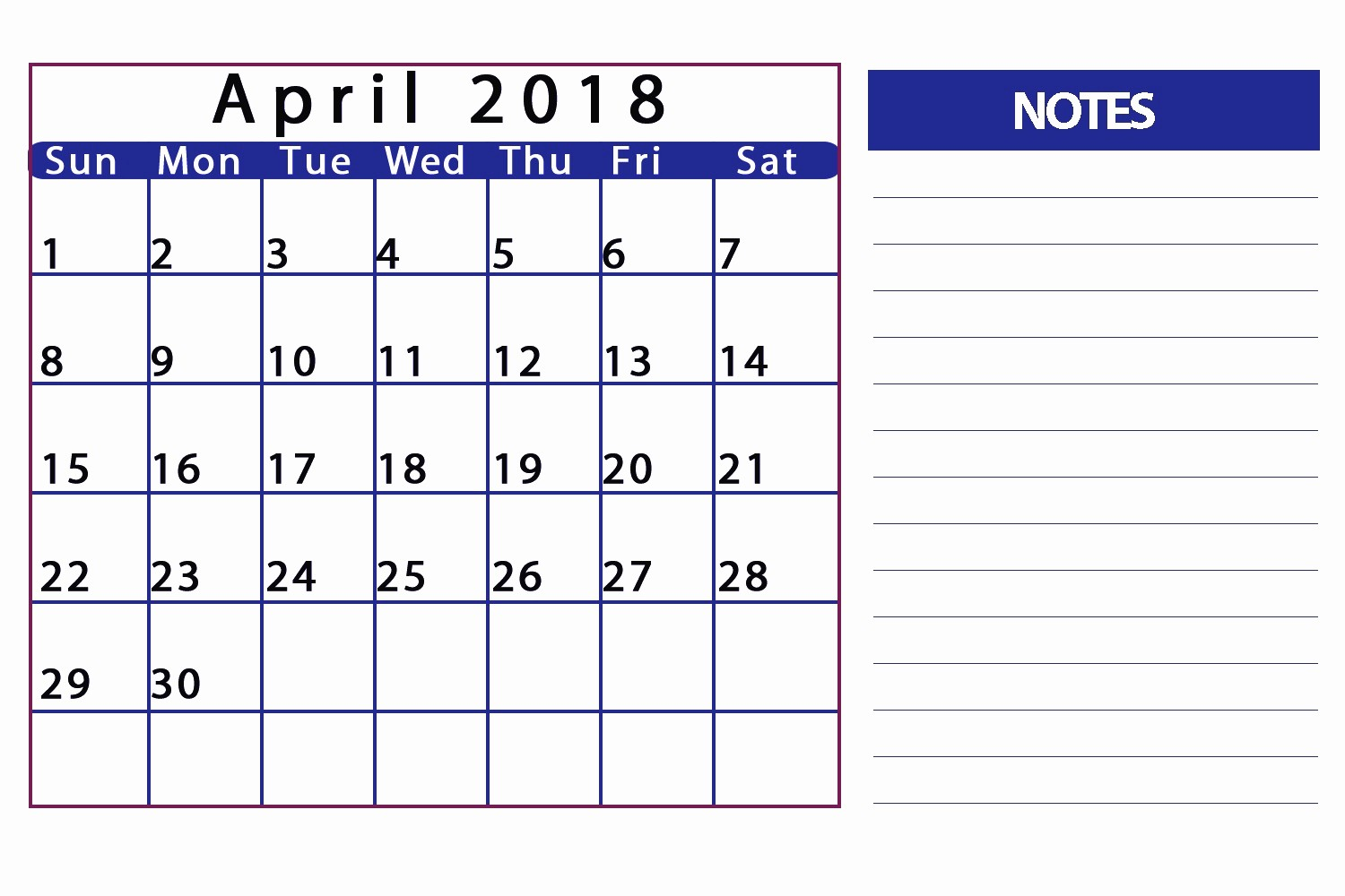Printable Calendar 2018 with Notes New April 2018 Calendar with Notes Printable