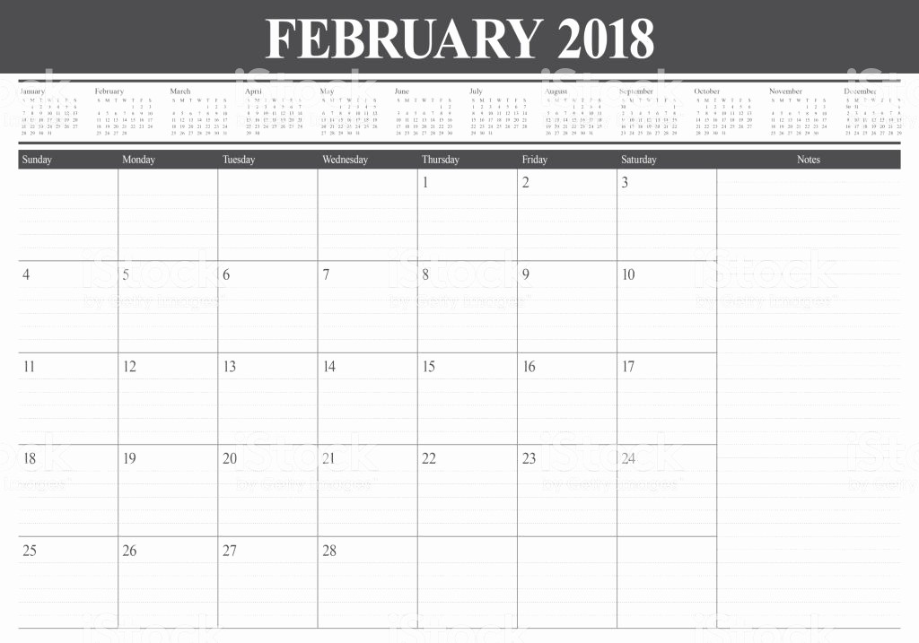 Printable Calendar 2018 with Notes New February 2018 Calendar with Notes Printable