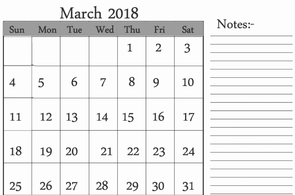 Printable Calendar 2018 with Notes New Printable March 2018 Calendar with Notes