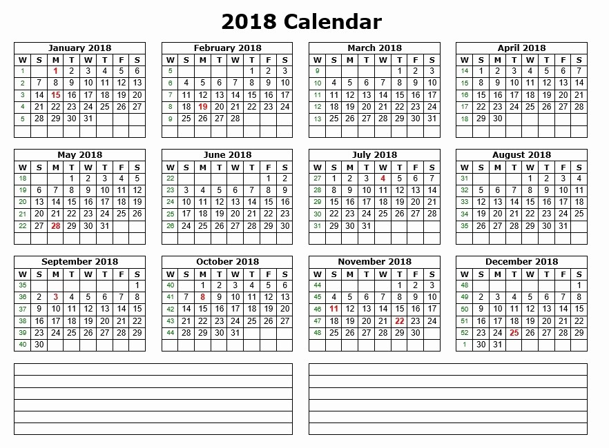 Printable Calendar 2018 with Notes Unique 10 Free Sample Printable Calendar Templates for 2018