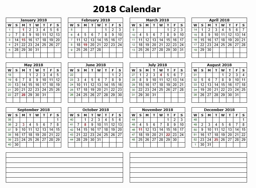 Printable Calendar 2018 with Notes Unique 10 Free Sample Printable Calendar Templates for 2018