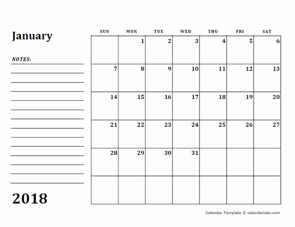 Printable Calendar 2018 with Notes Unique 2018 Blank Calendar Template with Notes Free Printable