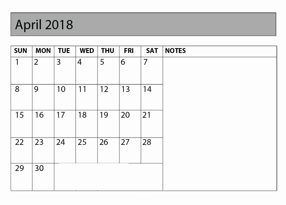 Printable Calendar 2018 with Notes Unique April 2018 Calendar with Notes Printable