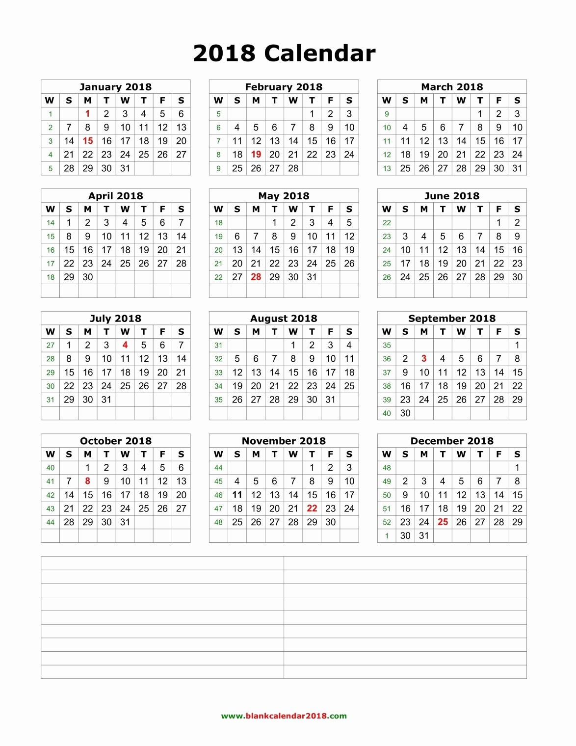 Printable Calendar 2018 with Notes Unique Blank Calendar 2018