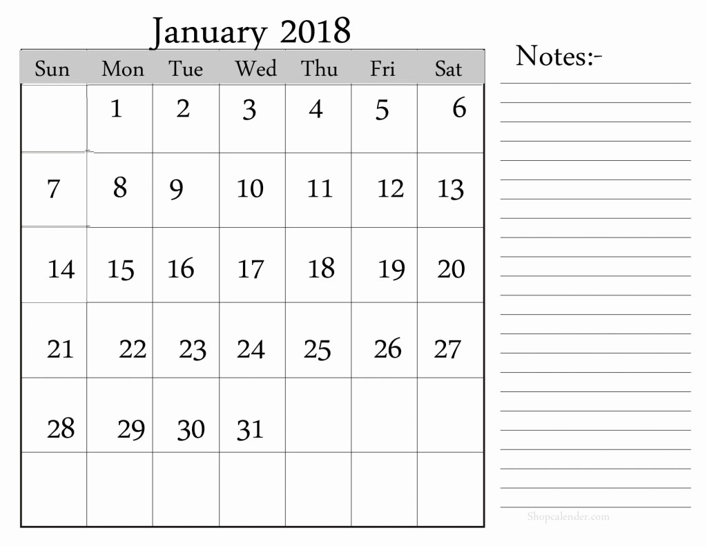 Printable Calendar 2018 with Notes Unique January 2018 Calendar with Notes Printable