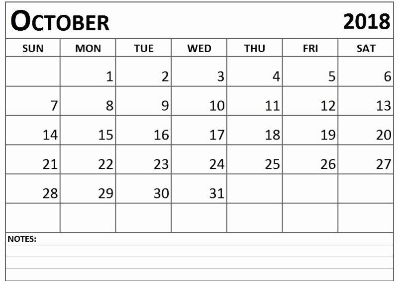 Printable Calendar 2018 with Notes Unique October 2018 Printable Calendar