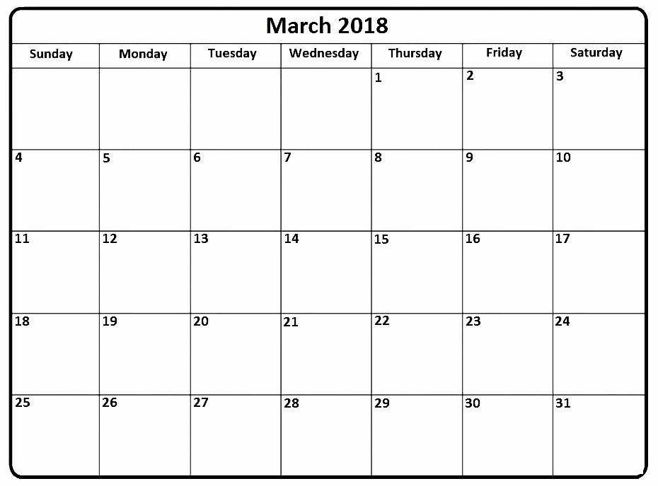Printable Calendar December 2018 Landscape Awesome March 2018 Calendar Portrait Landscape Printable