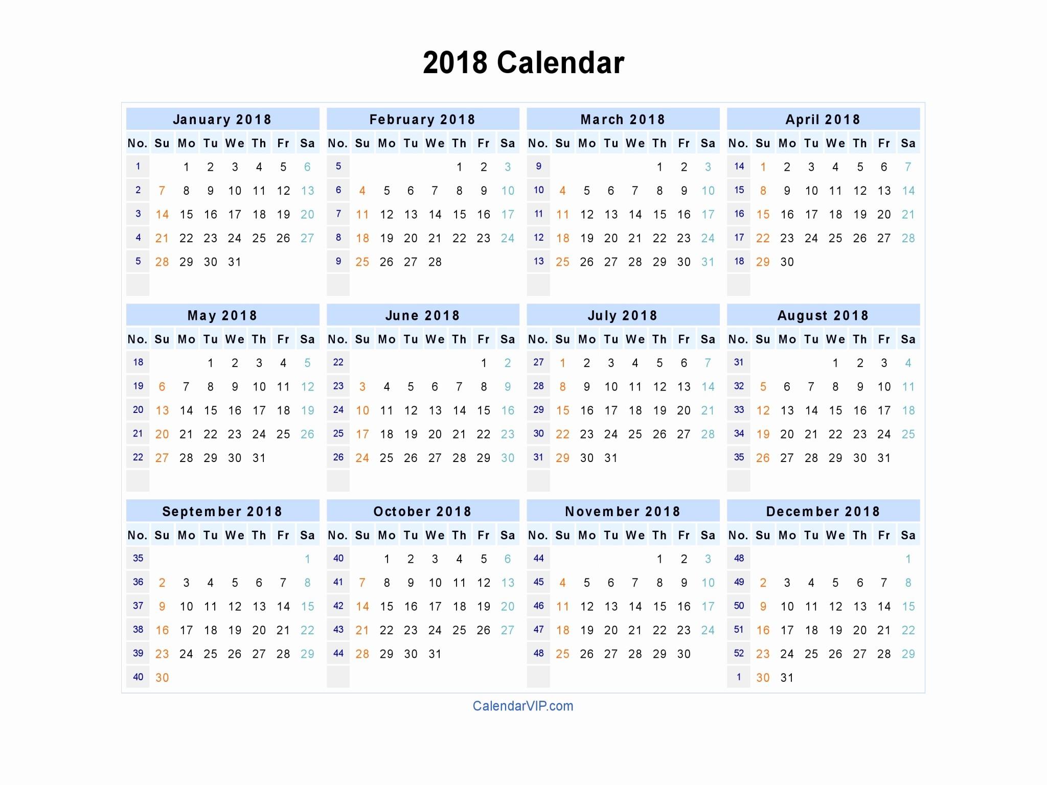 Printable Calendar December 2018 Landscape Beautiful 2018 Calendar Blank Printable Calendar Template In Pdf