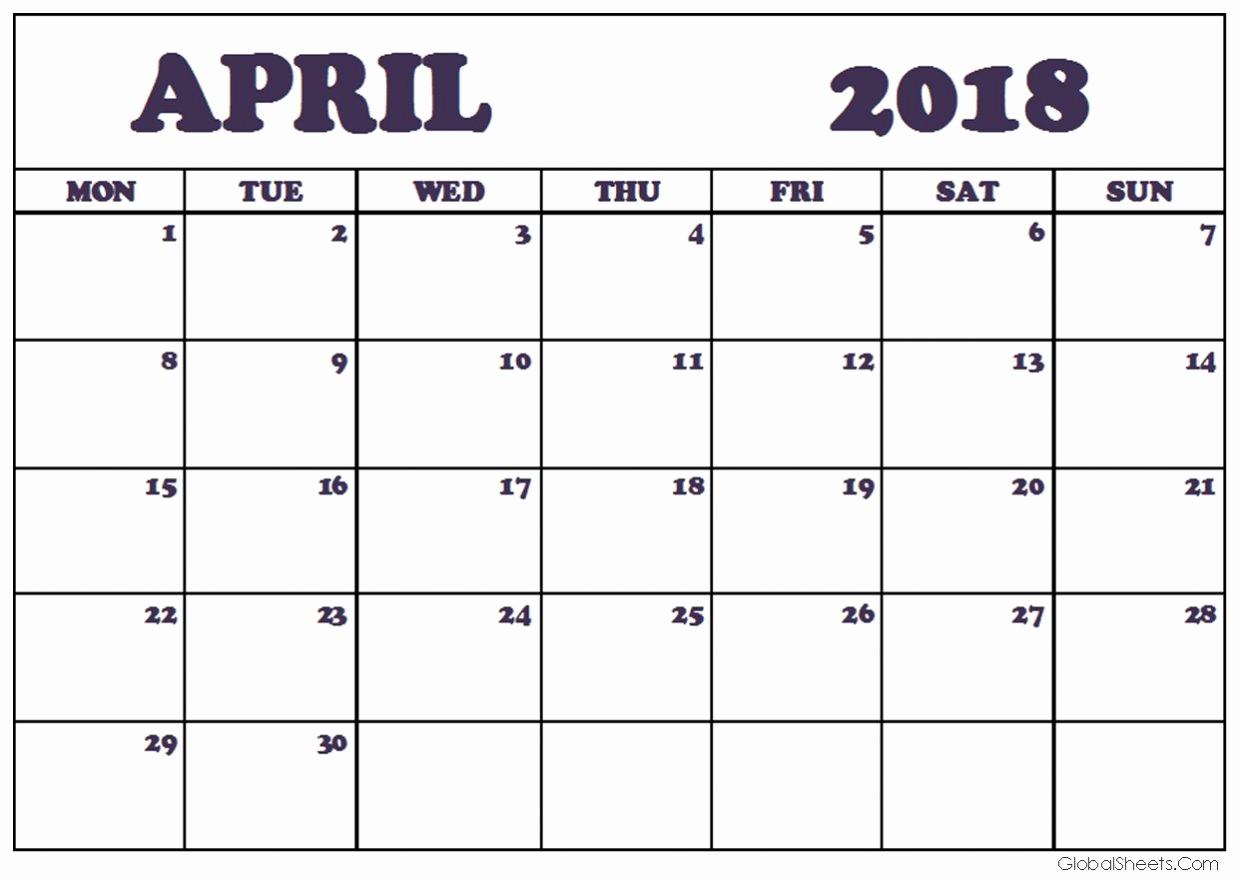 Printable Calendar December 2018 Landscape Beautiful April 2018 Calendar Portrait & Landscape Printable