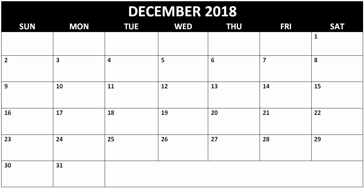 Printable Calendar December 2018 Landscape Best Of Blank December 2018 Calendar Landscape – Printable 2018