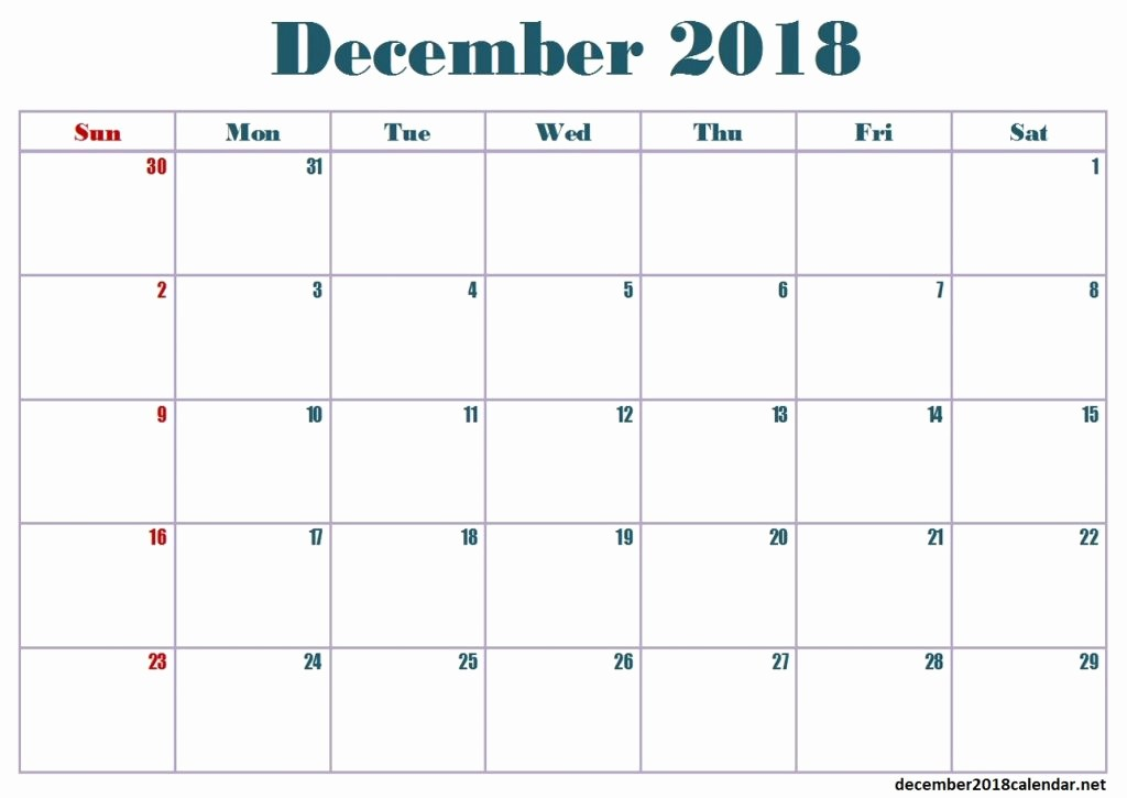 Printable Calendar December 2018 Landscape Best Of December 2018 Calendar