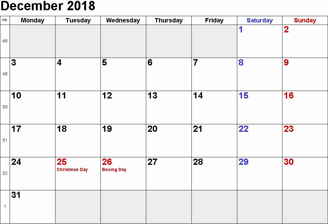 Printable Calendar December 2018 Landscape Elegant 2018 December Calendar Landscape & Portrait Template Free