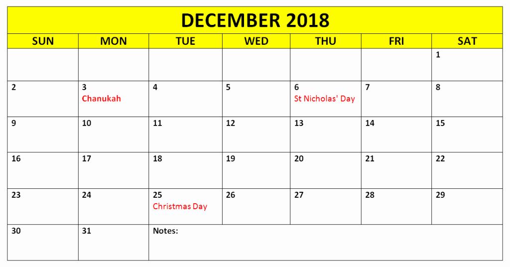 Printable Calendar December 2018 Landscape Fresh December 2018 Calendar Landscape & Portrait Template Free