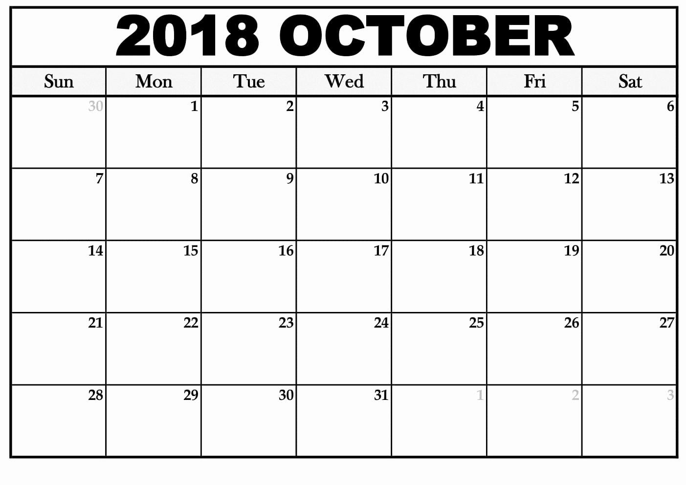 Printable Calendar December 2018 Landscape Fresh Download Template October 2018 Landscape & Portrait