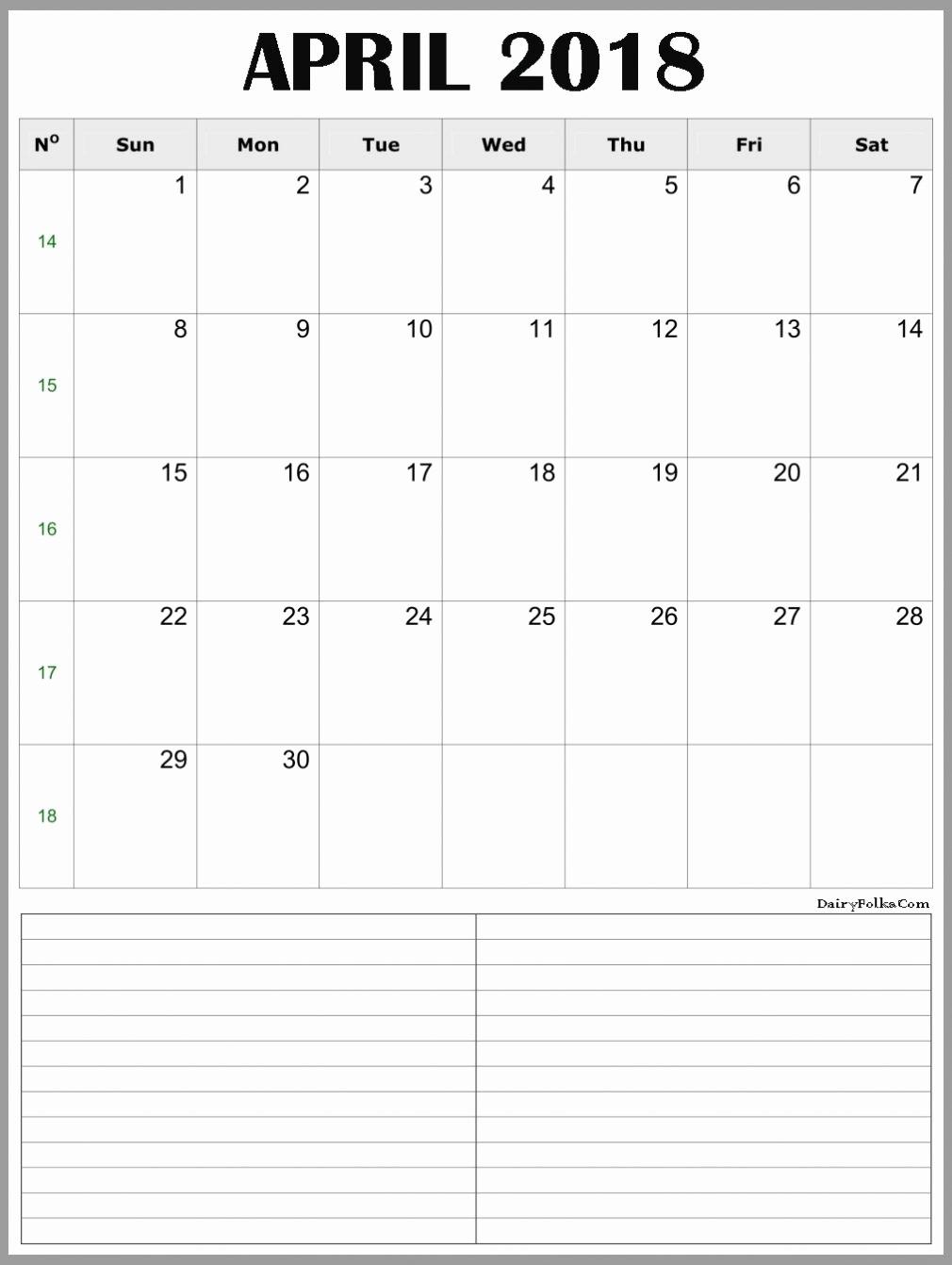 Printable Calendar December 2018 Landscape Inspirational April 2018 Calendar Portrait & Landscape Printable