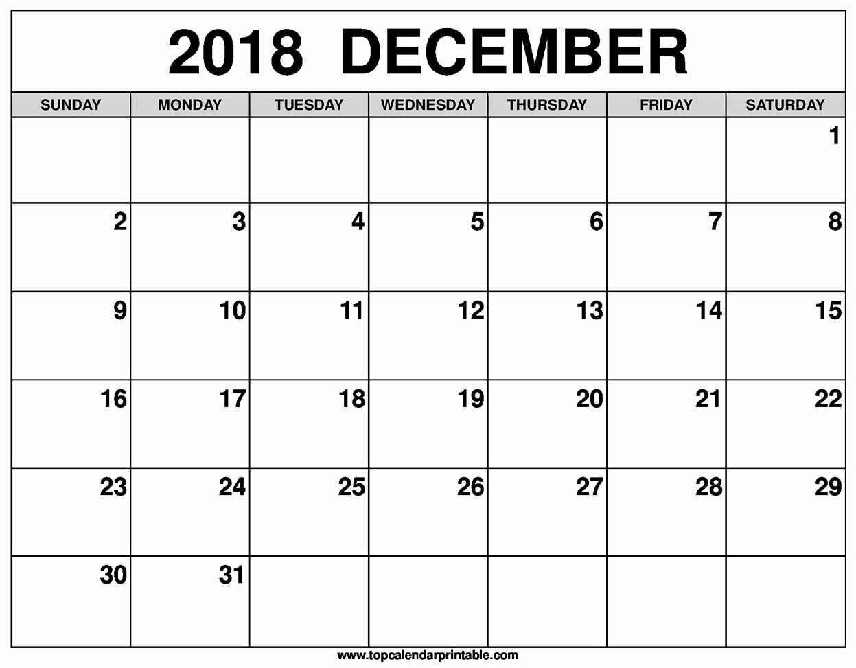 Printable Calendar December 2018 Landscape Inspirational Blank December 2018 Calendar Printable