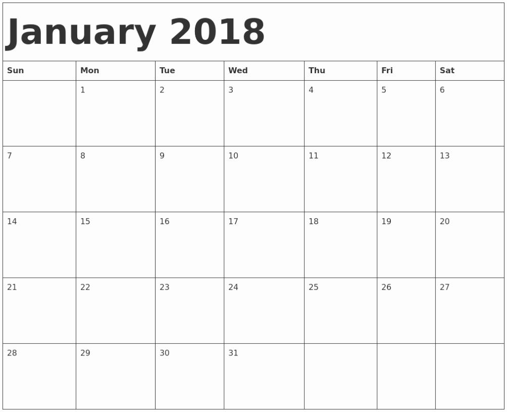 Printable Calendar December 2018 Landscape Inspirational January 2018 Calendar Landscape Portrait Printable