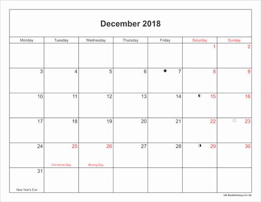 Printable Calendar December 2018 Landscape Lovely December 2018 Calendar with Holidays Uk