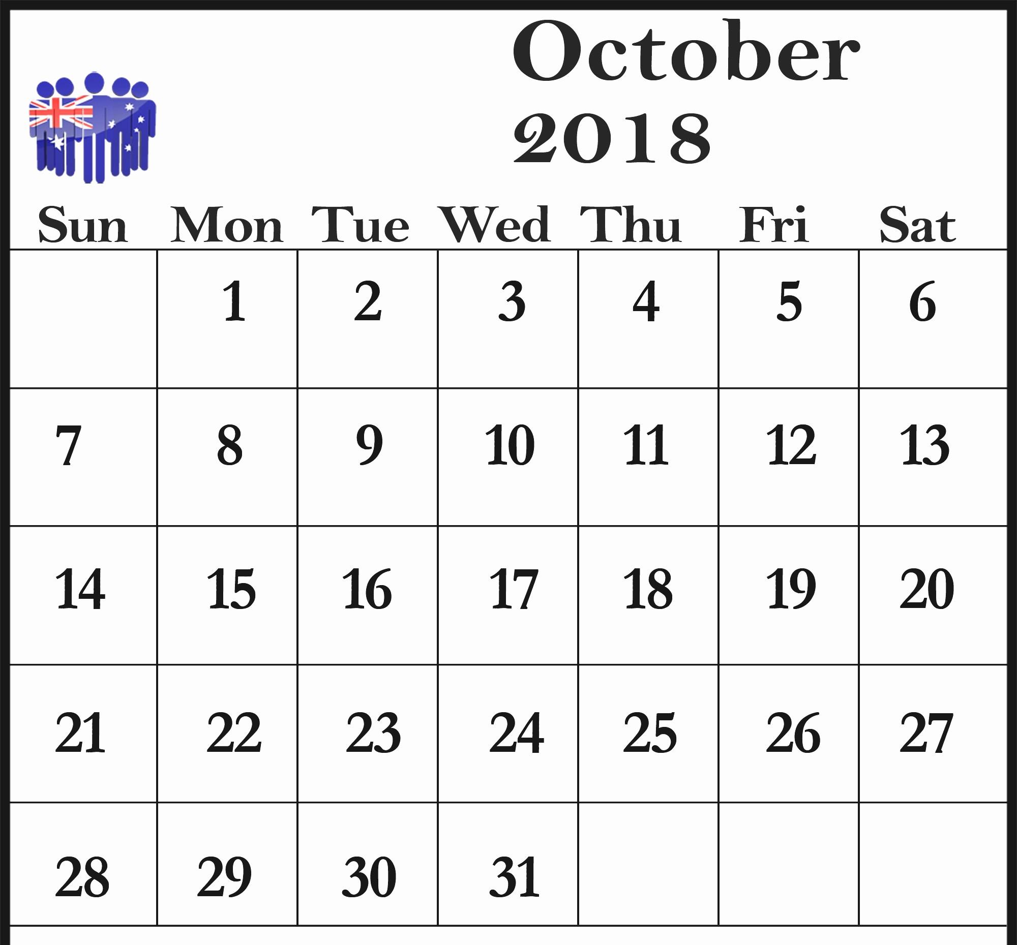 Printable Calendar December 2018 Landscape Lovely Download Template October 2018 Landscape & Portrait