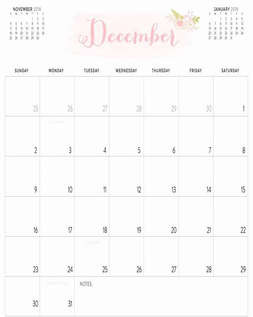 Printable Calendar December 2018 Landscape Luxury Calendar 2018 December Portrait & Landscape Template